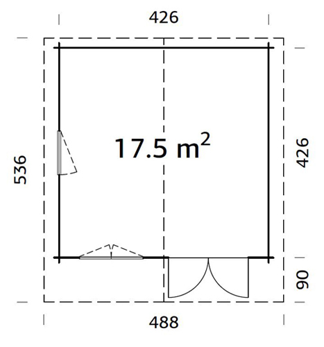Britta 17.5sqm log cabin plan