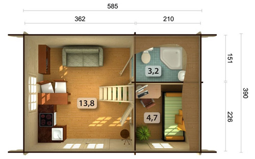 Sandra 29.9sqm log cabin plan