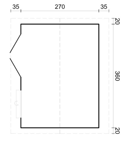 Iris 9.6sqm log cabin plan