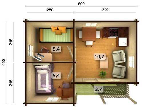 Sandra 21.5 3.7sqm log cabin plan