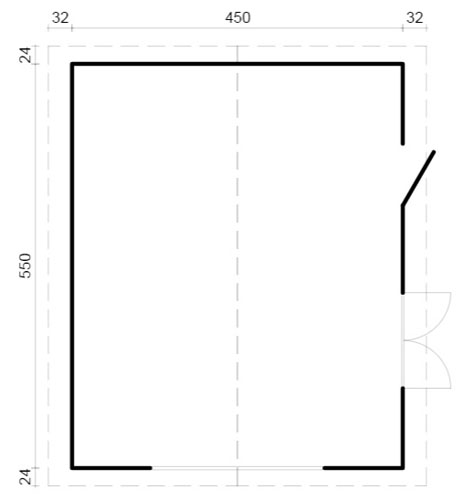 Roger 23.9sqm log cabin plan