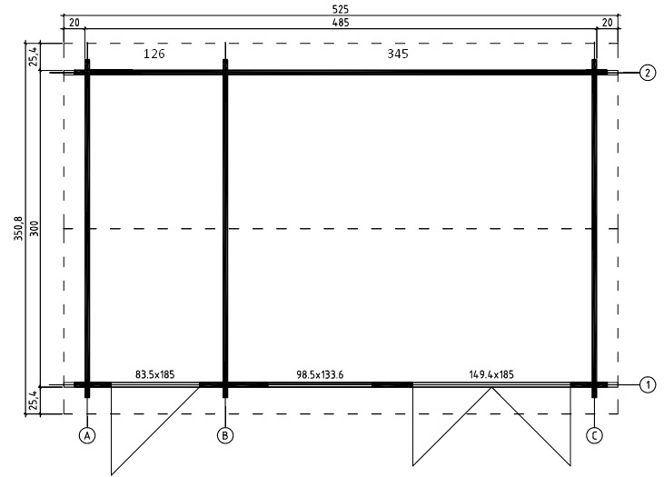 Wrexham 2 log cabin plan